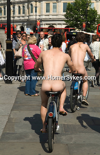 Nude bike ride in London to celebrate the Queensd 85th birthday UK