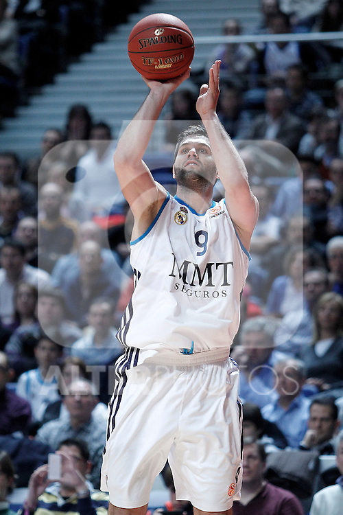 Real Madrid's Felipe Reyes during Euroleague 2012/2013 match.January 11,2013. (ALTERPHOTOS/Acero)