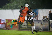 Adebayo Akinfenwa of Wycombe Wanderers heads a shot at goal during the Pre Season Friendly match between Maidenhead United and Wycombe Wanderers at York Road, Maidenhead, England on 28 July 2017. Photo by Andy Rowland.