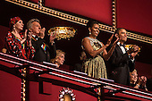 Ballerina Natalia Makarova, actor Dustin Hoffman, First Lady Michelle Obama, and United States President Barack Obama (L-R), attend the Kennedy Center Honors at the Kennedy Center on December 2, 2012 in Washington, DC. The Kennedy Center Honors recognized seven individuals - Buddy Guy, Dustin Hoffman, David Letterman, Natalia Makarova, John Paul Jones, Jimmy Page, and Robert Plant - for their lifetime contributions to American culture through the performing arts. .Credit: Brendan Hoffman / Pool via CNP