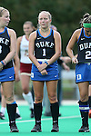 30 September 2016: Duke's Erin Scherrer. The Duke University Blue Devils hosted the Boston College Eagles at Jack Katz Stadium in Durham, North Carolina in a 2016 NCAA Division I Field Hockey match. Duke won the game 6-2.