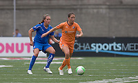 Sky Blue FC forward/defender Kiersten Dallstream (2) moves forward as Boston Breakers defender Kasey Moore (17) defends. Sky Blue FC defeated the Boston Breakers, 2-1, at Harvard Stadium on June 13, 2010.