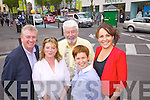 Celebrating Tralee being longlisted for the Failte Ireland Ireland Tourism Town Award one Wednesday are from left: Kieran Ruttledge, Tralee Chamber AllianceGilly Cllr. Wharton Slattery, Mayor of Tralee, Johnny Wall, Olive Sheehan, Imperial Hotel, Sandra Leahy, Kerry County Museum.