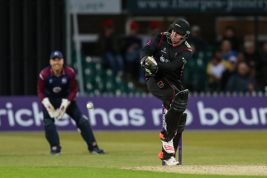 Leicestershire's Mark Cosgrove plays the ball off his legs<br /> <br /> Photographer Andrew Kearns/CameraSport<br /> <br /> NatWest T20 Blast - Leicestershire Foxes vs Northamptonshire Steelbacks - Friday 21st July 2017 - Grace Road Leicester <br /> <br /> World Copyright &copy; 2017 CameraSport. All rights reserved. 43 Linden Ave. Countesthorpe. Leicester. England. LE8 5PG - Tel: +44 (0) 116 277 4147 - admin@camerasport.com - www.camerasport.com