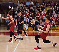 STANFORD, CA - March 10, 2018: Russell Dervay, Evan Enriques, Matt Klassen at Burnham Pavilion. The Stanford Cardinal lost to UC Irvine, 3-0.