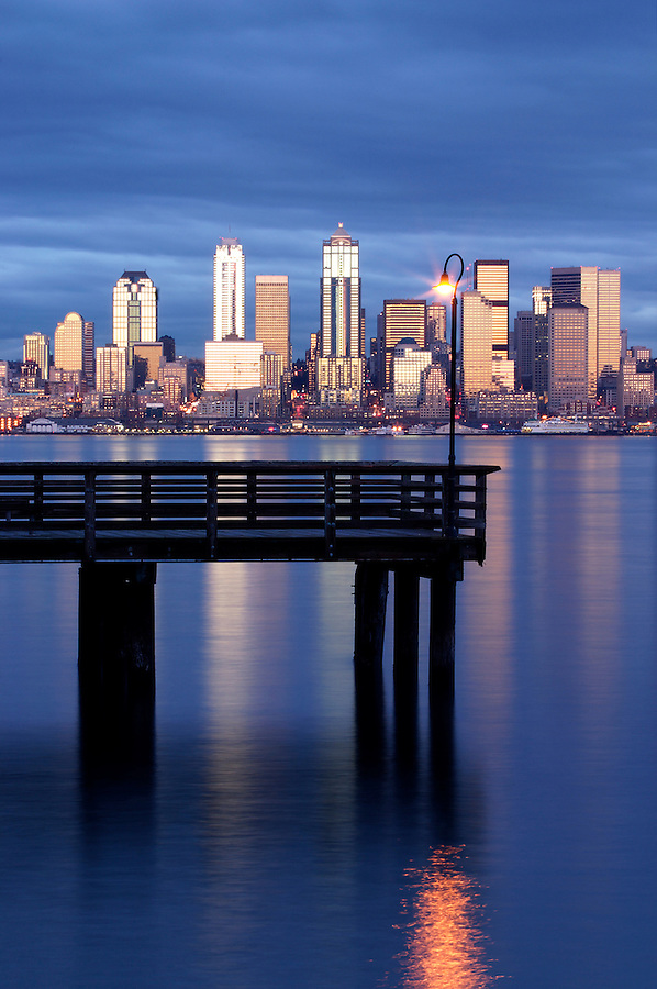 Seattle skyline and pier in Elliot Bay viewed from West Seattle, Seattle, Washington, USA