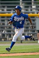 Derek Rodriguez #4 of the Burlington Royals hustles towards home plate to score a run versus the Pulaski Mariners at Burlington Athletic Park August 6, 2009 in Burlington, North Carolina. (Photo by Brian Westerholt / Four Seam Images)