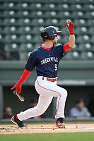 Center fielder Cole Brannen (5) of the Greenville Drive bats in a game against the Augusta GreenJackets on Wednesday, April 25, 2018, at Fluor Field at the West End in Greenville, South Carolina. Augusta won, 9-2. (Tom Priddy/Four Seam Images)
