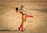 Spanish matador Juan Jose Padilla salutes during the last corrida of the San Fermin Festival, on July 14, 2012, in the Northern Spanish city of Pamplona. (c) Pedro ARMESTRE