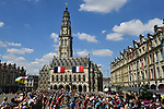 The peloton in action during Stage 9 of the 2018 Tour de France running 156.5km from Arras Citadelle to Roubaix, France. 15th July 2018. <br /> Picture: ASO/Alex Broadway | Cyclefile<br /> All photos usage must carry mandatory copyright credit (&copy; Cyclefile | ASO/Alex Broadway)