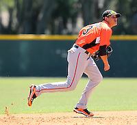 Baltimore Orioles minor league shortstop Manny Machado #3 in the field during a spring training game vs the Boston Red Sox at the Buck O'Neil Complex in Sarasota, Florida;  March 22, 2011.  Photo By Mike Janes/Four Seam Images