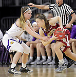 SIOUX FALLS, SD: MARCH 4: Morgan Blumer #12 of Western Illinois reaches on Lauren Loven #3 of Denver on March 4, 2017 during the Summit League Basketball Championship at the Denny Sanford Premier Center in Sioux Falls, SD. (Photo by Dick Carlson/Inertia)
