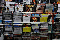"""FOR FAOIROUZ SONG """"THE FLOWER OF THE CITIES"""" - CDs are seen in a music shop in the shuck in the Muslim Quarter of Jerusalem's Old city.  Photo by Quique Kierszenbaum."""