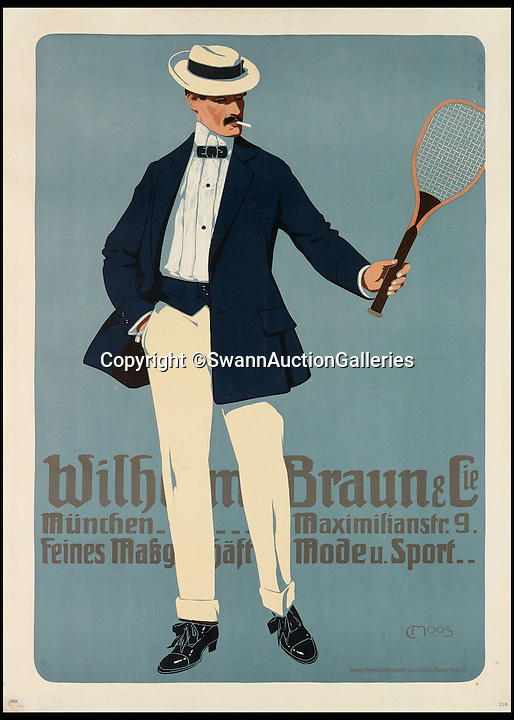 BNPS.co.uk (01202 558833)<br /> Pic: SwannAuctionGalleries/BNPS<br /> <br /> ***Please Use Full Byline***<br /> <br /> Wilhelm Braun &amp; Cie (1908), by Carl Moos, estimated at $2,000 - $3,000. <br /> <br /> <br /> The world's largest collection of vintage tennis posters spanning a century of the sport has emerged for sale for a staggering 100,000 pounds.<br /> <br /> The posters date from the late 19th century and advertise everything from famous tennis tournaments to luxury holiday destinations and even cars.<br /> <br /> The earliest poster in the collection comes from 1896 and advertises the Western Lawn Tennis Tournament at the Kenwood Country Club in Chicago.<br /> <br /> The collection was compiled by an Australian poster enthusiast over several decades and is thought to be the largest ever to come to auction.<br /> <br /> The posters will be sold individually for prices ranging between 150 pounds to 12,000 pounds and are collectively tipped to fetch a whopping 100,000 pounds in the Swann Auction Galleries sale.