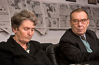 Moscow, Russia, 22/11/2005..Yuri Viktorivich and Zoya Alexandrovna, father and mother of Dimitri Kholodkov, in the offices of Moskovskii Komsomolyets newspaper. Dimitri Kholodkov was a MK war correspondent killed in a 1994 explosion in the newsroom when he opened a booby-trapped briefcase which he believed contained evidence of corruption in the Russian Army.