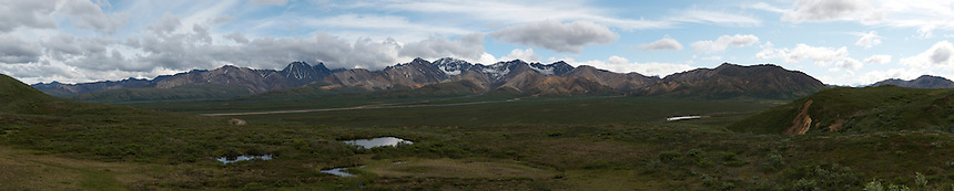 June 26, 2011, Panorama from location near Polycrome Pass, Denali National Park and Preserve, Alaska, United States. This image is composed of 13 individual images taken by Ron Karpilo and digitally stitched together using Hugin software.  This image is a repeat from the same location as U.S. Geological Survey geologist Stephen Reid Capps' July 18, 1916 panorama (U.S. Geological Survey, S.R. Capps Collection images #793, 794, and 795).
