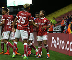 Bristol City's Bobby Reid celebrates scoring his sides second goal during the Carabao cup match at Vicarage Road Stadium, Watford. Picture date 22nd August 2017. Picture credit should read: David Klein/Sportimage