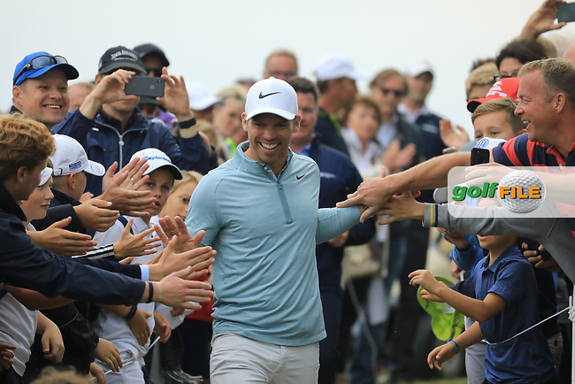 Paul Casey (ENG) greeted by fans on the 18th during the final round of the Porsche European Open , Green Eagle Golf Club, Hamburg, Germany. 08/09/2019<br /> Picture: Golffile   Phil Inglis<br /> <br /> <br /> All photo usage must carry mandatory copyright credit (© Golffile   Phil Inglis)