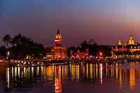 Italy pavilion and the American Adventure, World Showcase, Epcot, Walt Disney World, Orlando, Florida USA