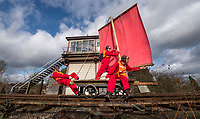 BNPS.co.uk (01202 558833)<br /> Pic: PhilYeomans/BNPS<br /> <br /> To Hull and back...eccentric Inventor Phil Mathison has recreated the almost forgotten 'Spurn Landship'.<br /> <br /> Railway enthusiast Phil Mathison, 68, has researched and rebuilt the sail powered Spurn Landship, which once ferried people out along the windswept Spurn Peninsula east of Hull between the wars.<br /> <br /> The original 13 ft landship, made up of a large sail mounted on a wheeled trolley (bogie), could travel at a hair-raising 40mph. <br /> <br /> Mr Mathison, a retired economist, has been assisted on the four year project by his wife Mary, 68, and their Norwegian friend Torkel Larsen, 51. The trio have dubbed themselves the 'Spurnfleet Command' and wear astronaut-like uniforms.<br /> <br /> Despite exhaustive trials Phil and his team have only attained a top speed of 6mph so far, mainly due to fluctuating wind conditions on the test track in Derbyshire.