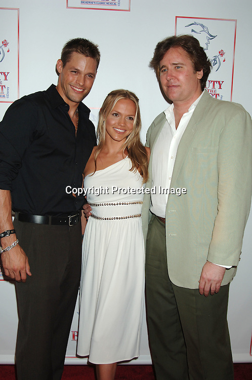 """Justin Bruening, Alexa Havins and Michael E Knight..at The 5000th performance of """"Beauty and The Beast""""..on June 20, 2006 at The Lunt-Fontanne Theatre...Jacob Young of All My Children is starring as Lumiere. ..Robin Platzer, Twin Images"""
