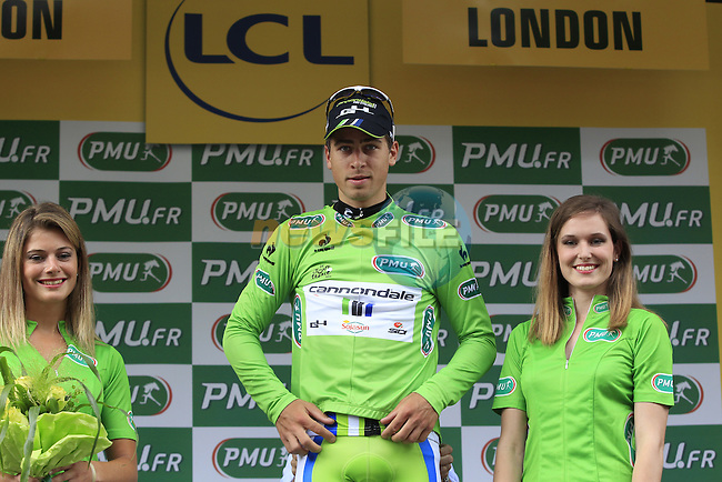 Peter Sagan (SVK) retains the sprinter's Green Jersey after Stage 3 of the 2014 Tour de France running 155km from Cambridge to London. 7th July 2014.<br /> Picture: Eoin Clarke www.newsfile.ie