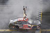 #20: Erik Jones, Joe Gibbs Racing, Toyota Camry buyatoyota.com, celebrates after winning.