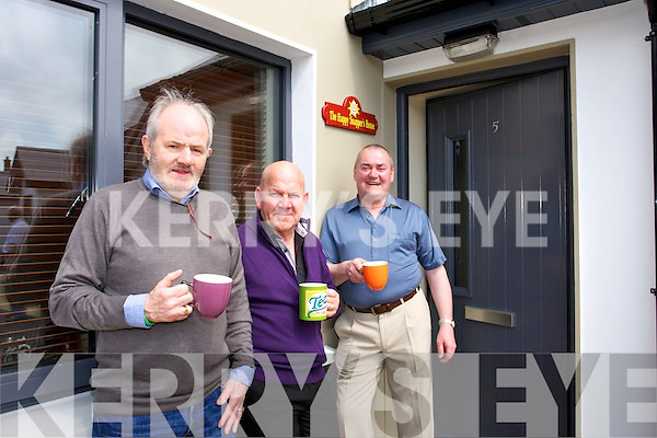 Having a cuppa Billy Baldwin, Joe Hanley and Jimmy Woulfe, Residents  of Clos Naomh Breanndain at the official opening  by Tralee Mayor Pat Hussey