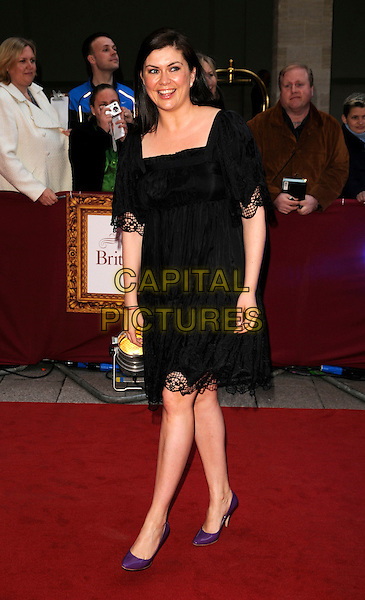 AMANDA LAMB.The Galaxy British Book Awards held at the Grosvenor Hotel, Park Lane, London, England. .April 9th, 2008 .full length black lace dress purple shoes.CAP/CAN.©Can Nguyen/Capital Pictures.