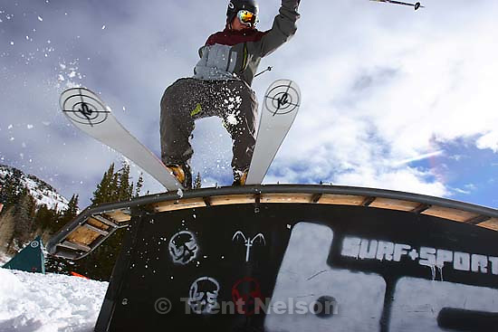 Skier Tom Vigeon rides a rail at Brighton. Recent snow will allow some ski resorts to open this week.<br />