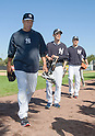 (L-R) Hiroki Kuroda, Yoshinori Tateyama,  Masahiro Tanaka (Yankees),<br /> FEBRUARY 17, 2014 - MLB : Japanese pitchers (L-R) Hiroki Kuroda, Yoshinori Tateyama and Masahiro Tanaka of the New York Yankees during the teams spring training baseball camp at George M. Steinbrenner Field in Tampa, Florida, United States.<br /> (Photo by Thomas Anderson/AFLO) (JAPANESE NEWSPAPER OUT)