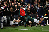 Nehe Milner-Skudder scores during the Rugby Championship match between the New Zealand All Blacks and South Africa Springboks at QBE Stadium in Albany, Auckland, New Zealand on Saturday, 16 September 2017. Photo: Shane Wenzlick / lintottphoto.co.nz