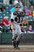 Indianapolis Indians catcher Eric Fryer #16 during a game against the Rochester Red Wings at Frontier Field on June 18, 2011 in Rochester, New York.  Rochester defeated Indianapolis 12-7.  (Mike Janes/Four Seam Images)