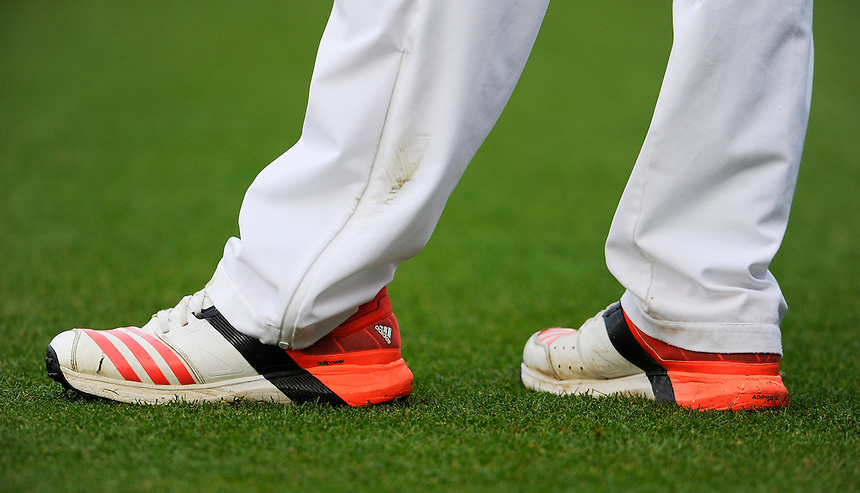 England's Moeen Ali's boots<br /> <br /> Photographer Ashley Western/CameraSport<br /> <br /> International Cricket - Investec Ashes Test Series 2015 - Fifth Test - England v Australia - Day 1 - Thursday 20th August 2015 - Kennington Oval - London<br /> <br /> &copy; CameraSport - 43 Linden Ave. Countesthorpe. Leicester. England. LE8 5PG - Tel: +44 (0) 116 277 4147 - admin@camerasport.com - www.camerasport.com