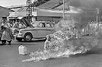 FILE -Thich Quang Duc, a Buddhist monk, burns himself to death on a Saigon street to protest alleged persecution of Buddhists by the South Vietnamese government, June 11, 1963.<br /> <br /> PHOTO :  Malcom Browne