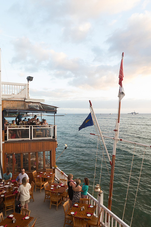 Koa's Restaurant in downtown Lahaina has a rooftop dining room where you can watch the sunset over the island of Lanai