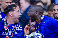 Sean Morrison and Sol Bamba celebrate after the Sky Bet Championship match between Cardiff City and Reading at the Cardiff City Stadium, Cardiff, Wales on 6 May 2018. Photo by Mark  Hawkins / PRiME Media Images.