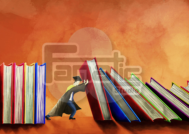 Illustrative image of male student holding books