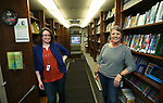 Humboldt County Library Director Jessica Anderson, left, and Ginny Dufurrena show off their bookmobile as library representatives from across the state discuss their programs with lawmakers in Carson City, Nev., on Wednesday, March 6, 2019. <br /> Photo by Cathleen Allison/Nevada Momentum