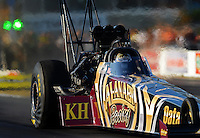 May 18, 2012; Topeka, KS, USA: NHRA top fuel dragster driver Khalid Albalooshi during qualifying for the Summer Nationals at Heartland Park Topeka. Mandatory Credit: Mark J. Rebilas-