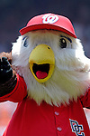 "17 June 2006: Team Mascot ""Screech"" of the Washington Nationals entertains the crowd prior to a game against the New York Yankees at RFK Stadium, in Washington, DC. The Nationals overcame a seven run deficit to win 11-9 in the second game of the interleague series...Mandatory Photo Credit: Ed Wolfstein Photo..."