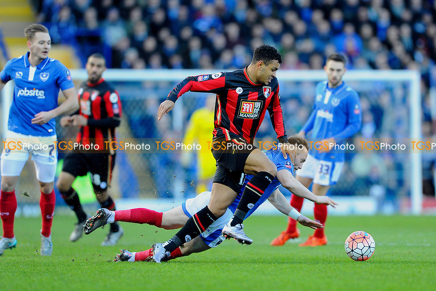 Ben Davies of Portsmouth goes down under the challenge of Joshua King of AFC Bournemouth during Portsmouth vs AFC Bournemouth, Emirates FA Cup Football at Fratton Park