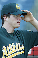 Barry Zito of the Oakland Athletics before a 2002 MLB season game against the Los Angeles Angels at Angel Stadium, in Anaheim, California. (Larry Goren/Four Seam Images)
