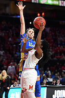 College Park, MD - March 25, 2019: Maryland Terrapins guard Channise Lewis (3) scores a layup over UCLA Bruins guard Lindsey Corsaro (4) as time expires in the first half during second round game of NCAAW Tournament between UCLA and Maryland at Xfinity Center in College Park, MD. UCLA advanced to the Sweet 16 defeating Maryland 85-80.(Photo by Phil Peters/Media Images International)