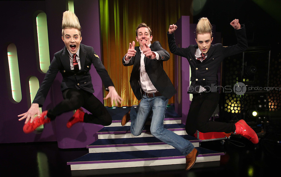 10/02/'11 Ryan Tubridy pictured this afternoon at RTE Studios with Jedward, one of  the five acts which make up this years hopefulls for Ireland's entry to the Eurosong 2011 Contest. The five acts will perform on tomorrow night's Late Late show ..Picture Colin Keegan, Collins, Dublin.