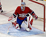 6 February 2007: Montreal Canadiens goaltender David Aebischer of Switzerland in action against the Carolina Hurricanes at the Bell Centre in Montreal, Canada. The Hurricanes defeated the Canadiens 2-1.....Mandatory Photo Credit: Ed Wolfstein *** Editorial Sales through Icon Sports Media *** www.iconsportsmedia.com