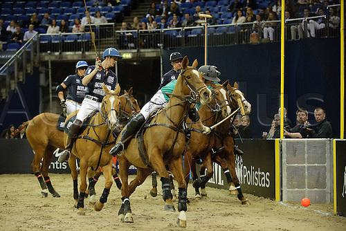 21.03.2012 London  England. Action from the IRELAND [IWelbeck Group] v SCOTLAND [Auchentoshan] International Polo. Gaucho International Polo played at the O2 ARENA.