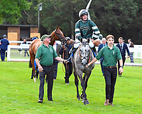 Winner of The Meachers Global Classic Supporting Gift Of Sight Handicap, Gwafa ridden by Fergus Sweeney and trained by Paul Webber is led into the Winner's enclosure during Evening Racing at Salisbury Racecourse on 3rd September 2019