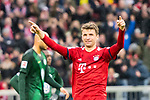09.03.2019, Allianz Arena, Muenchen, GER, 1.FBL,  FC Bayern Muenchen vs. VfL Wolfsburg, DFL regulations prohibit any use of photographs as image sequences and/or quasi-video, im Bild Jubel nach dem Tor zum 4-0 durch Thomas M&uuml;ller (FCB #25) <br /> <br />  Foto &copy; nordphoto / Straubmeier