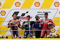 3rd November 2019; Sepang Circuit, Sepang Malaysia; MotoGP Malaysia, Race Day; 2nd placed Marc Marquez, winner Maverick Vinales and 3rd placed Andrea Dovizioso on the podium - Editorial Use